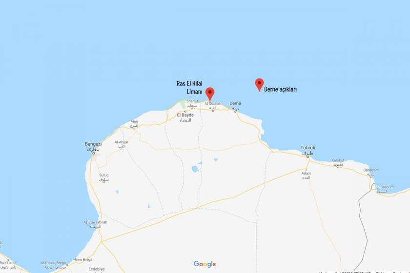 Derne açıkları ve Ras El Hilal Limanının yerini gösteren harita.