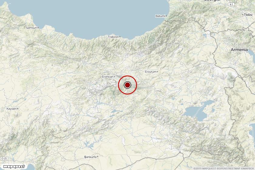 Dersim'deki depremin merkez üssünü gösteren harita.