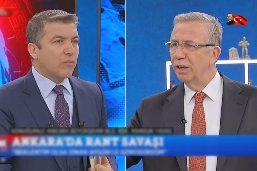Mansur Yavaş'ın konuk olduğu FOX TV'de yayımlanan İsmail Küçükkaya ile Çalar Saat programından ekran görüntüsü.