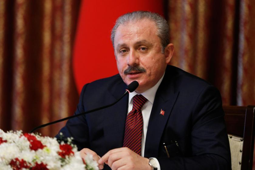 TBMM Başkanı Mustafa Şentop basın toplantısında konuşurken