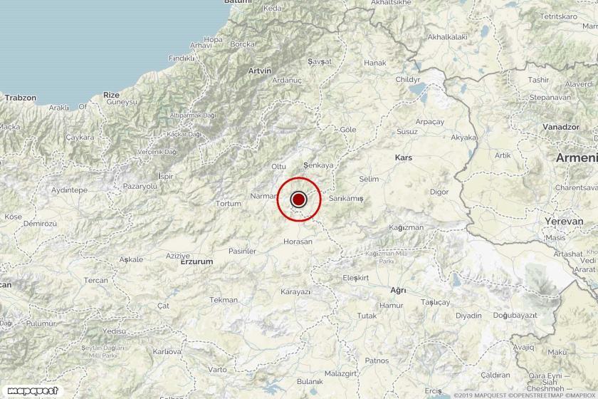 Kars Sarıkamış'ta depremin olduğu noktayı gösteren harita.