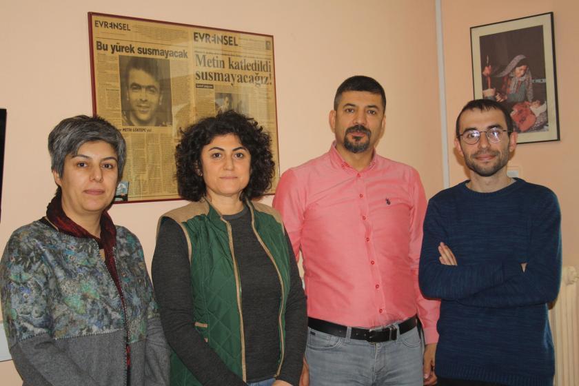 (Soldan sağa) BES Genel Örgütlenme ve Eğitim Sekreteri Özlem Yılmaz Yeşer, BES Genel Başkanı Serpil Akpınar, BES Genel Sekreteri Aziz Özkan ve Evrensel'in Ankara Temsilcisi Birkan Bulut