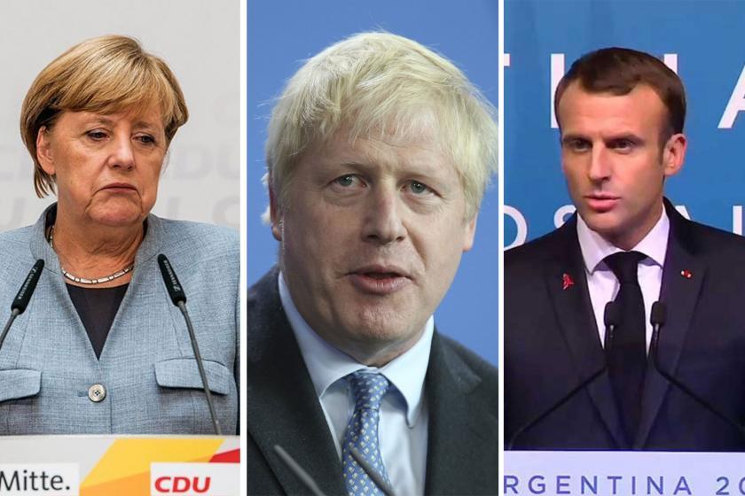 (Soldan sağa) Almanya Başbakanı Angela Merkel, İngiltere Başbakanı Boris Johnson ve Fransa Cumhurbaşkanı Emmanuel Macron