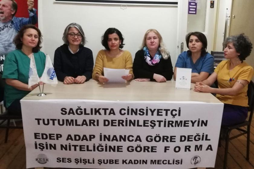SES Şişli Şube Kadın Meclisi üyeleri açıklama yapıyor