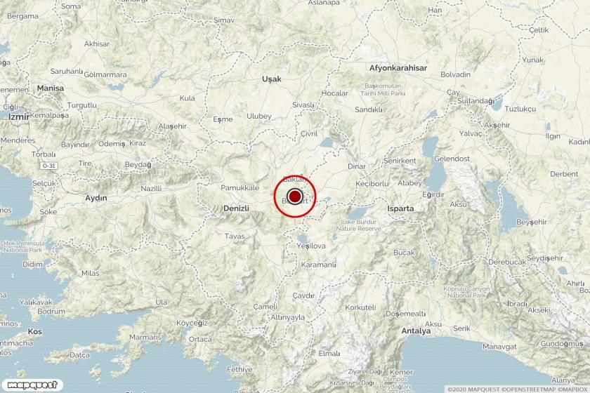 Denizli'deki depremin merkezi