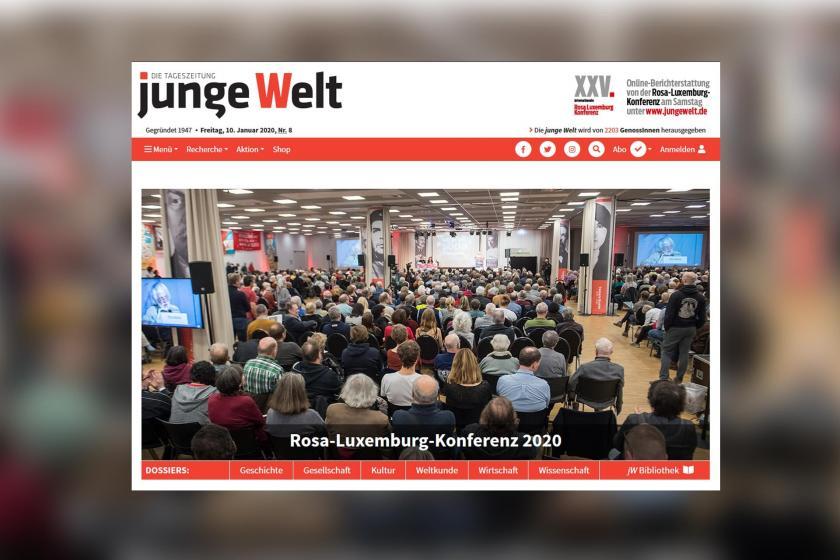 Rosa Luxemburg 2020 konferansı için Junge Welt gazetesinde yayınlanan fotoğraf