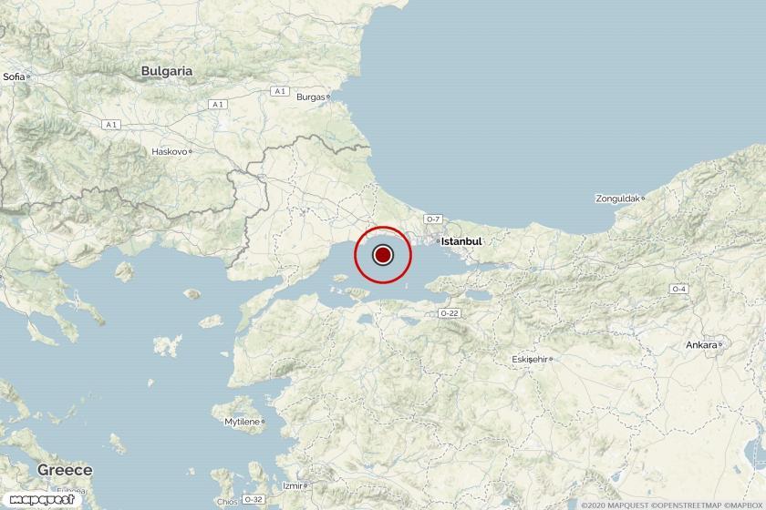 Silivri açıklarında gerçekleşen depremi gösteren harita