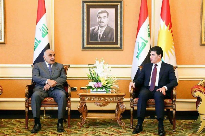 Irak Başbakanı Abdulmehdi ve Federe Kürdistan Yönetimi Başkanı Neçirvan Barzani görüşmesinden bir kare