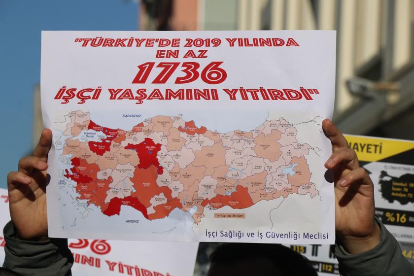 Türkiye'de 2019 yılında 1736 işçi yaşamını yitirdi yazısı