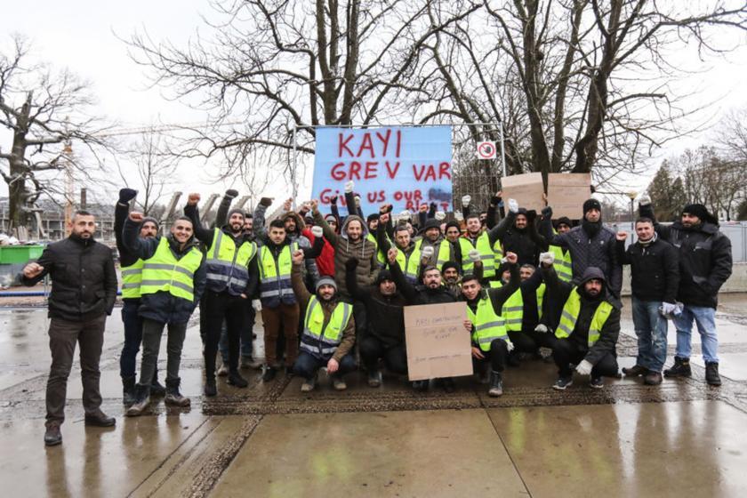 Kayı inşaat işçileri ile dayanışma eylemi