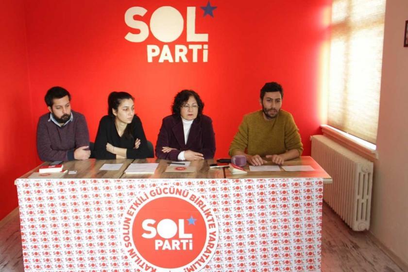SOL Parti yönetileri açıklama yapıyor.
