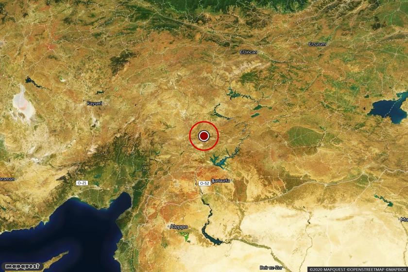 Doğanşehir'i, depremin merkez üssünü gösteren harita