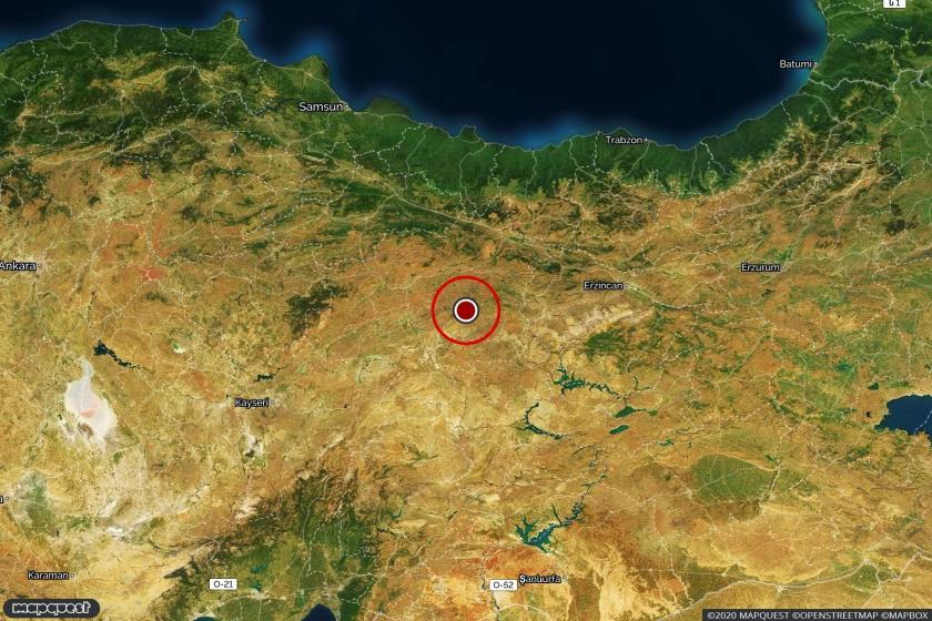 Depremin merkezüssünü gösteren harita