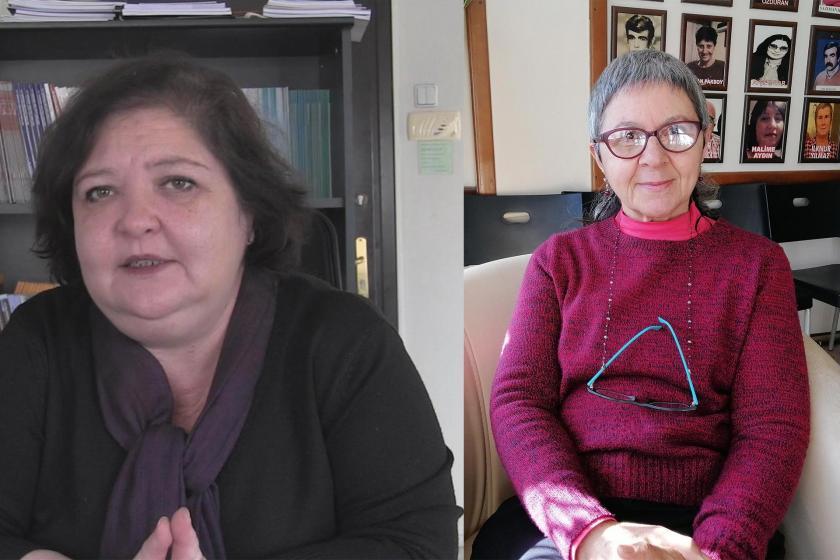 Avukat Özlem Yılmaz (solda)  İzmir Kadın Platformu üyesi Günseli Kaya (sağda)