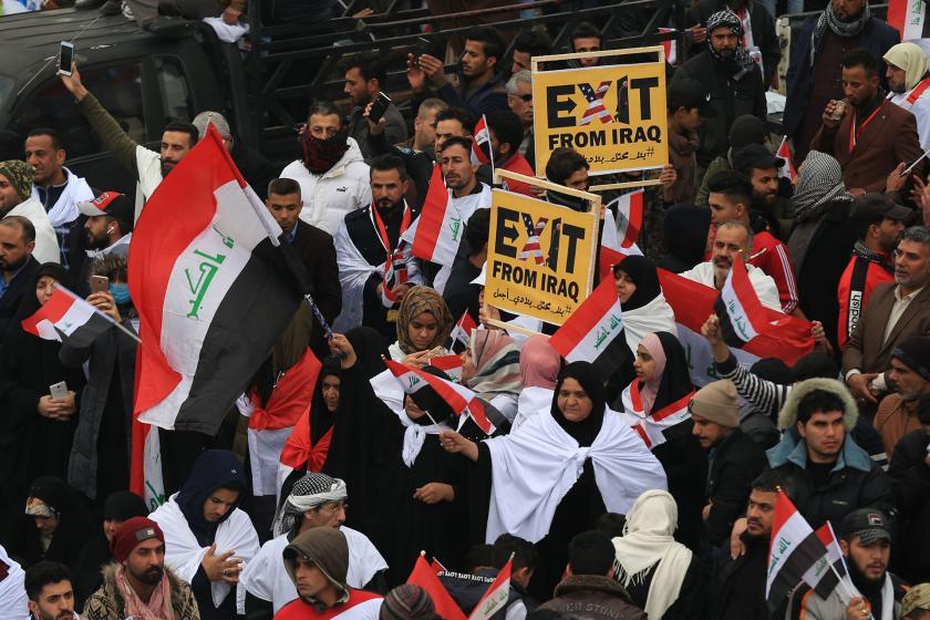 ABD karşıtı protestoya katılan Bağdat halkı