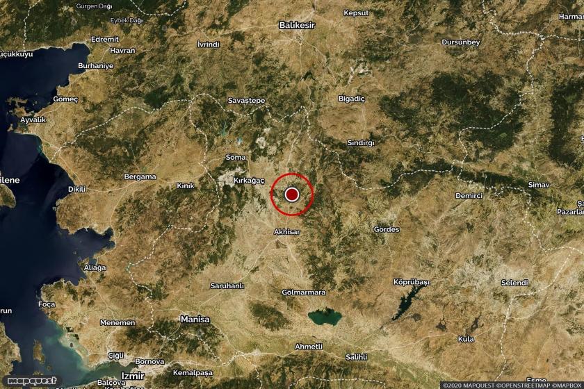 Manisa'da depremin olduğu bölgeyi gösteren harita