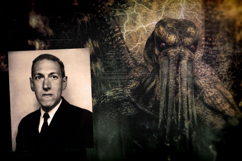 Lovercraft'ın ahtapota benzer yaratısı Cthulhu'nun tasviri ve Lovercraft fotoğrafı.