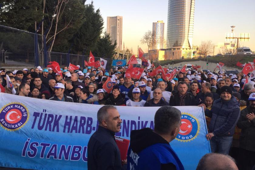 Türk Harb-İş Sendikası üyeleri eylem düzenliyor