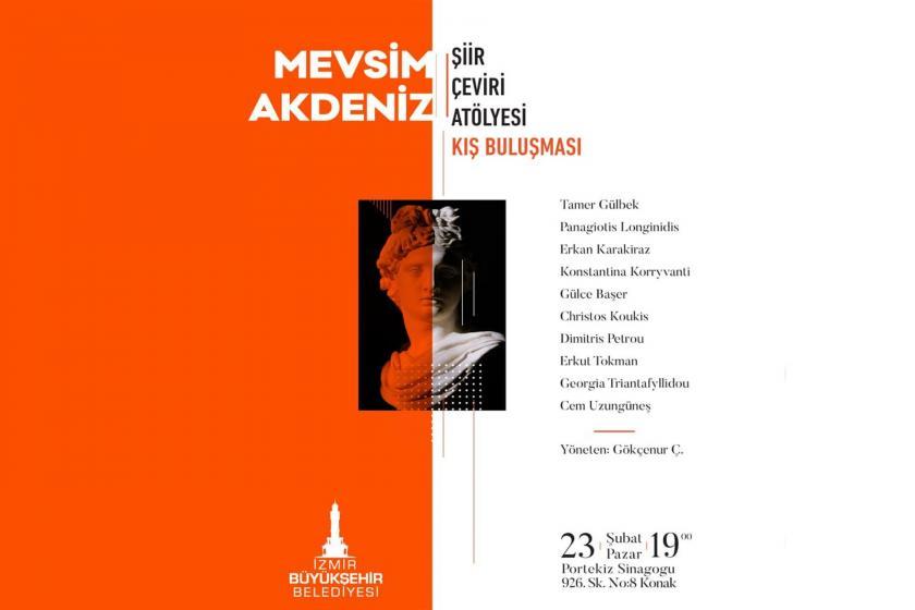 İzmir Büyükşehir Belediyesi'nin mevsim akdeniz şiir çeviri atölyesi etkinlik afişi