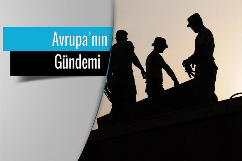 Avrupa'nın Gündemi vinyeti içerisinde çatıda çalışan üç işçinin fotoğrafı.