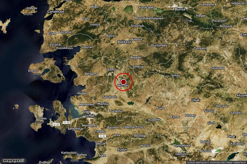 Akhisar'da depremin meydana geldiği yeri gösteren harita