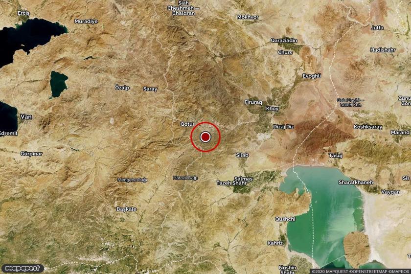 Hoy'da meydana gelen depremin merkezini gösteren harita