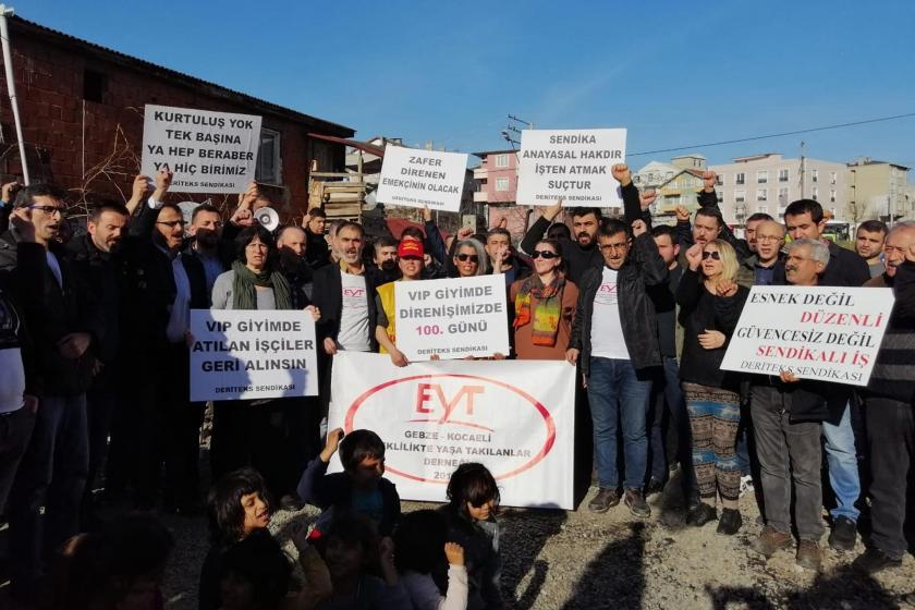 VİP Tekstil işçilerinin direnişinin 100. gününde pek çok fabrikadan destek ziyaretleri gerçekleşti.