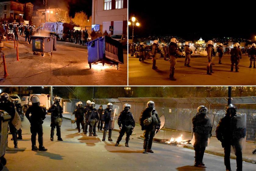 Mülteci kamplarını kapalı hale getirme kararına karşı Midilli'de düzenlenen  eylemlerden.