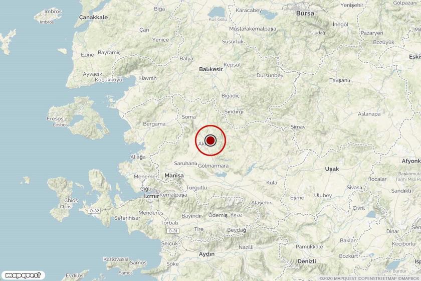 Manisa'da meydana gelen depremin merkezini gösteren harita.