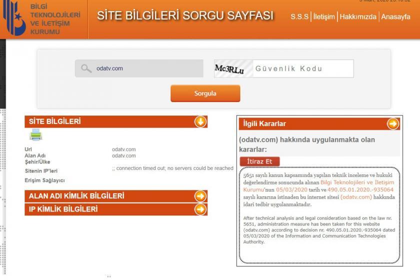 Site bilgileri sorgu sayfası ekran görüntüsü