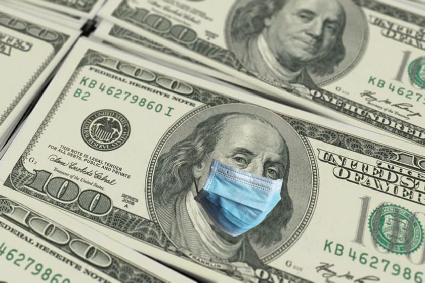 100 ABD dolarında Franklin'in yüzünde maske var.