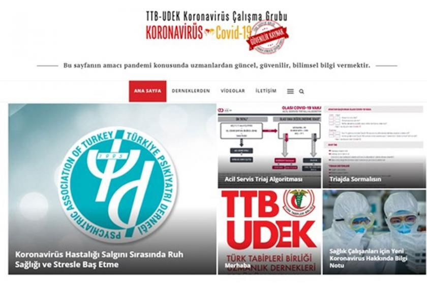 Koronavirüs bilgilendirme sitesinin ekran alıntısı