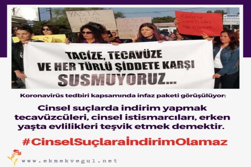 #CinselSuçlaraİndirimOlmaz adlı sosyal medya kapmanyasının görseli.