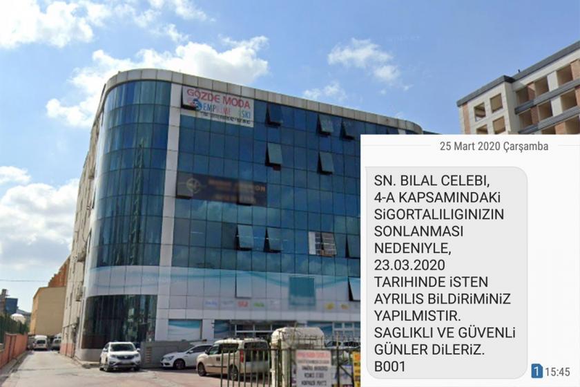 Gözde Moda binası ve işçiye SGK'dan gönderilen SMS