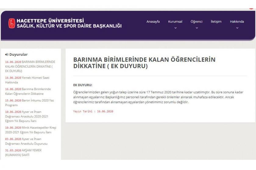 Üniversitenin duyurusu