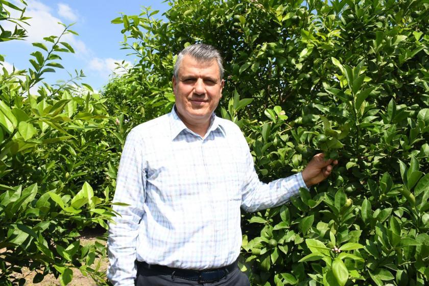 Ayhan Barut, limon ağacının yanında