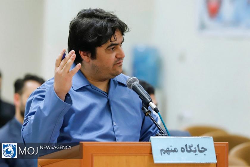 Ruhullah Zam mahkemede savunma yapıyor.