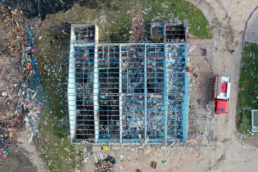 Patlamanın yaşandığı depo binası
