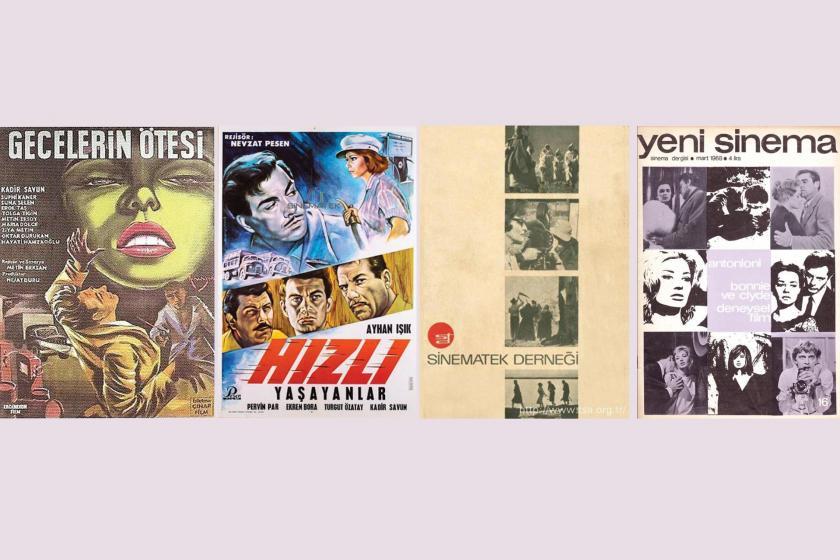 Gecelerin Ötesi ve Hızlı Yaşayanlar film afişleri ile Sinematek ve Yeni Sinema dergilerinin kapağı