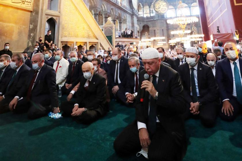 """A """"select group of Muslims"""" featuring on the protocol along with Erdoğan staged the opening by performing friday prayers at Hagia Sophia."""