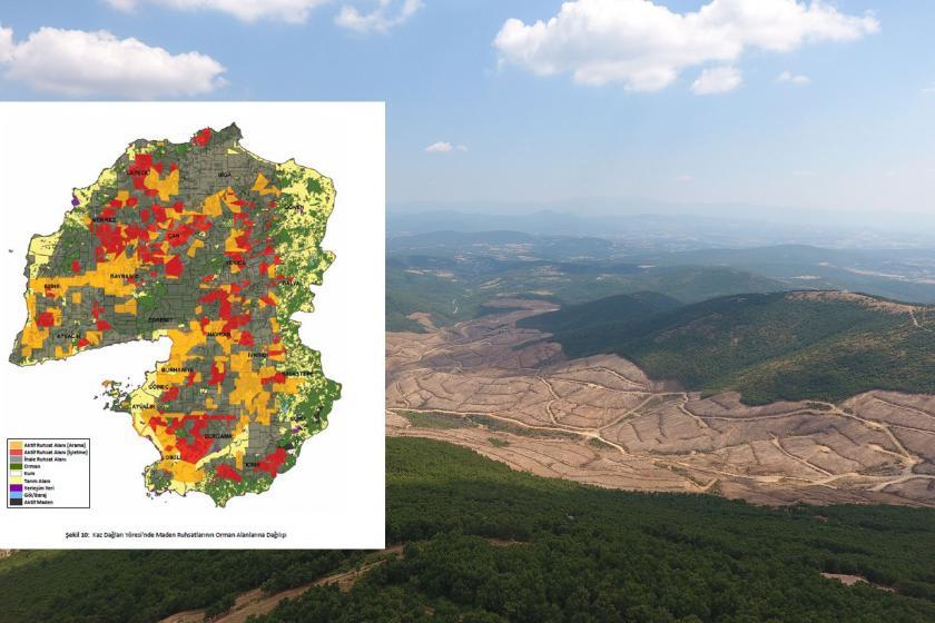 Kaz Dağları'nın drone görüntüsü üzerine harita kolajı.