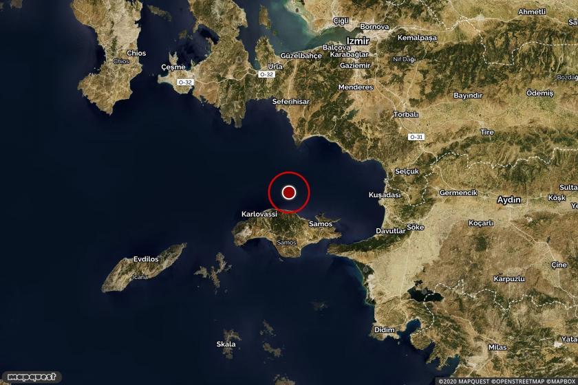 Artçı depremin merkezüssünü gösteren harita