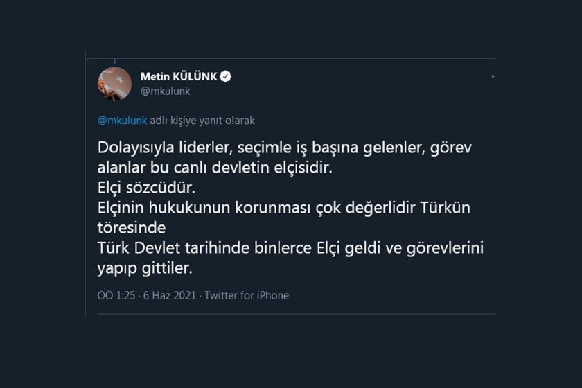 Metin Külünk'ün Twitter gönderisinden ekran alıntısı