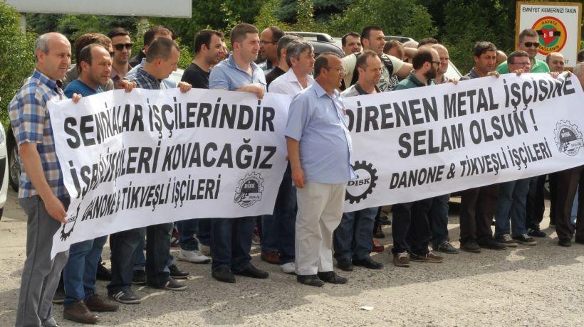 Danone işçilerinden metal işçilerine destek