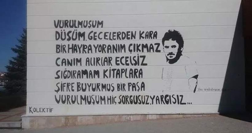 Ali İsmail'in üniversite duvarından silinen portresinin yerine yazı yazıldı