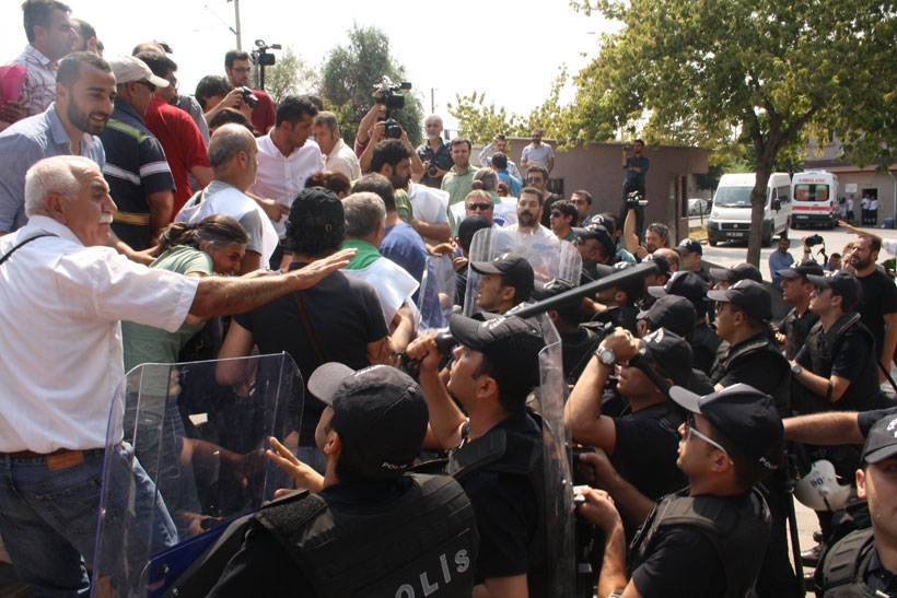 Adliye önünde açıklamaya polis engeli