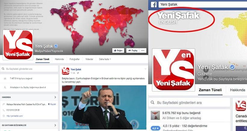 Yeni Şafak'ın facebook sayfası 2.5 milyon takipçiden 'temizlenerek' açıldı