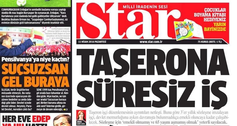 Star'ın 'Taşerona süresiz iş' haberi kendi kendini tekzip ediyor!