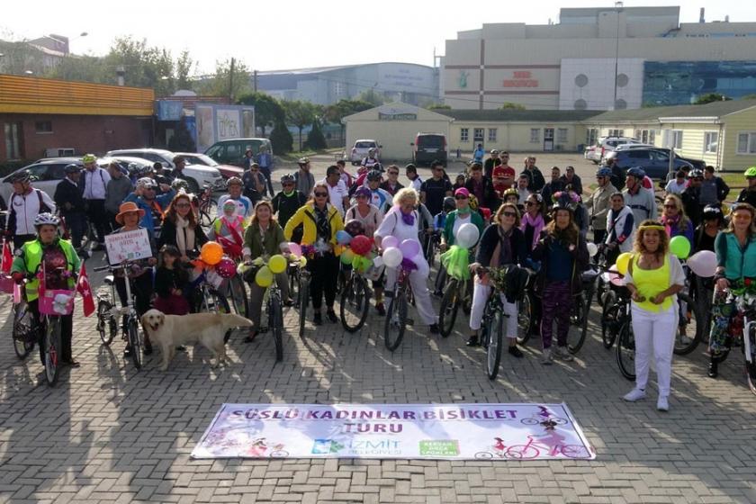 'Süslü kadınlar' İzmit'te pedallara bastı