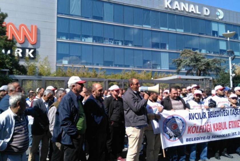 Avcılar Belediyesi işçilerinden medya protestosu